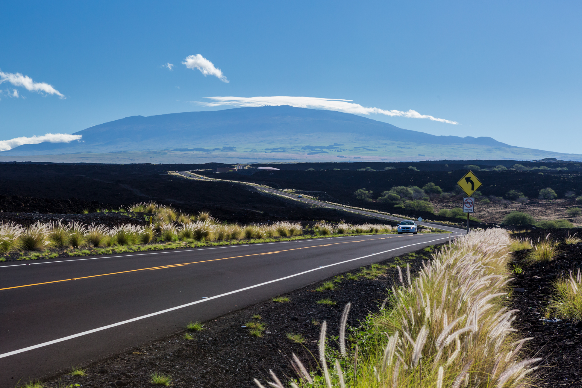 Roadside lava fields with Maunakea in the background