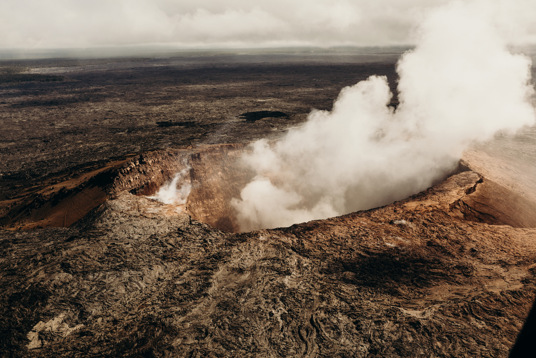 Helicopter over Hawaii Volcanoes National Park