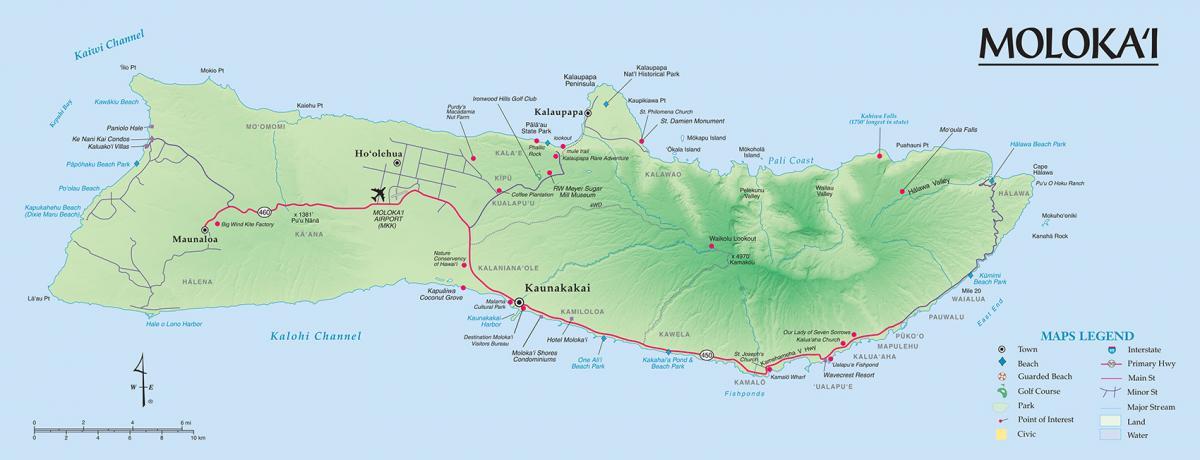 Map Of Molokai Molokai Maps | Go Hawaii Map Of Molokai