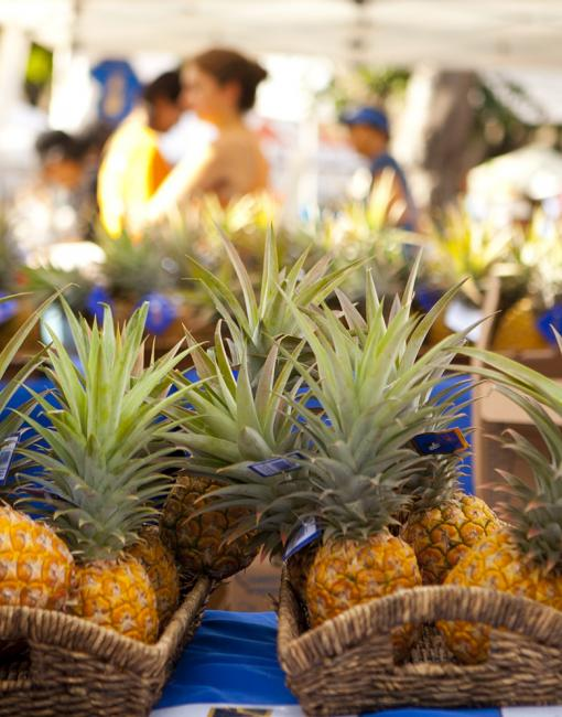 Pineapple at a farmers market in Oahu