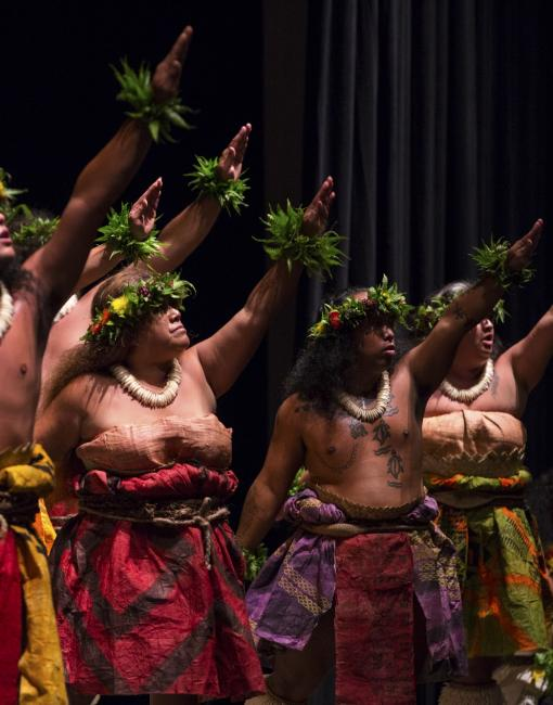 Hula dancers perform on stage at the Hawaii Convention Center