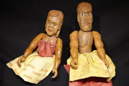Hula Ki'i Puppets, Crafted by Aulii Mitchell, Kumu Hula of Halau o Kahiwahiwa and Cultural Anthropologist/Advisor for Cultural Surveys Hawai'i Inc.