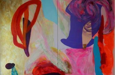 Debra Drexler; Golden Stream; 2018; acrylic on canvas