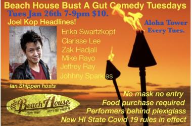 Come laugh with us Tuesdays at Beach House Aloha Tower $10.