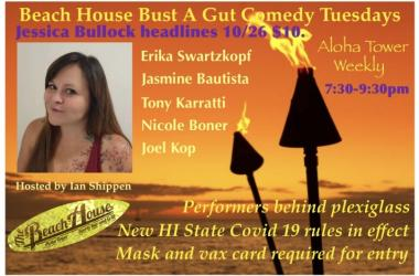 Come laugh with us Tuesday at the Beach House Bust a Gut Comedy Tuesday!
