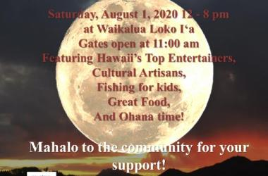 Save the Date!  Saturday, August 1, 2020 at the Waikalua Loko Fishpond, Kane'ohe Hawaii