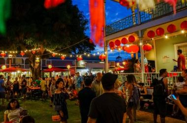 Chinese Moon Festival at Wo Hing Museum lit by lanterns