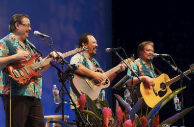 The Makaha Sons, from left: Kimo Artis on bass, Jerome Koko on 12-string guitar, Mark Yim on 6-string guitar. EKK courtesy photo