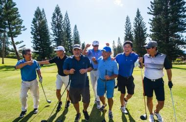 Chef Roy Yamaguchi (far left) hits the links with celeb chefs and tournament players. Join them!