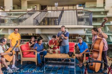 "A  fun jam session in the foyer of the hotel promotes the ""kanikapila"" aspect of the festival."
