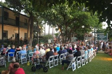 Audience watching Hawaiian Music concert at Baldwin Home in Lahaina