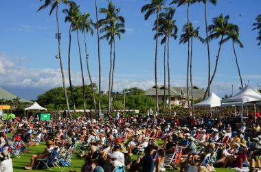 "An excited and happy crowd at the Hawaiian Slack Key Guitar Festival ""Maui Style"""