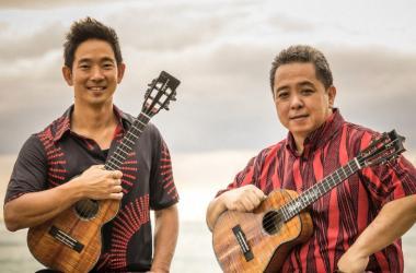 'Ukulele musicians Jake Shimabukuro and Herb Ohta, Jr.