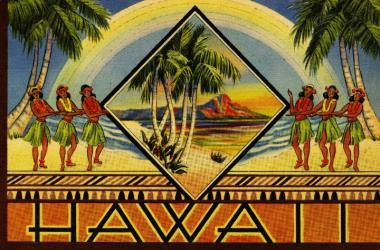 Cover of Hawaii, illustrated souvenir booklet, 1943 Private Collection. Published by Curteich, a prolific printer of postcards in Illinois, this small picture book was primarily sold to military personnel in Hawaiʻi during World War II. Its colorful cover includes many of the favorite Hawaiian image