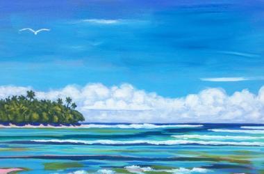 "2020 Festival art by Sophie Twigg-Smith Teururai, ""Island Morning"""