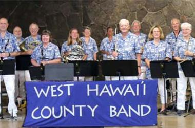 Members of the West Hawai'i County Band with director Bernaldo Evangalista