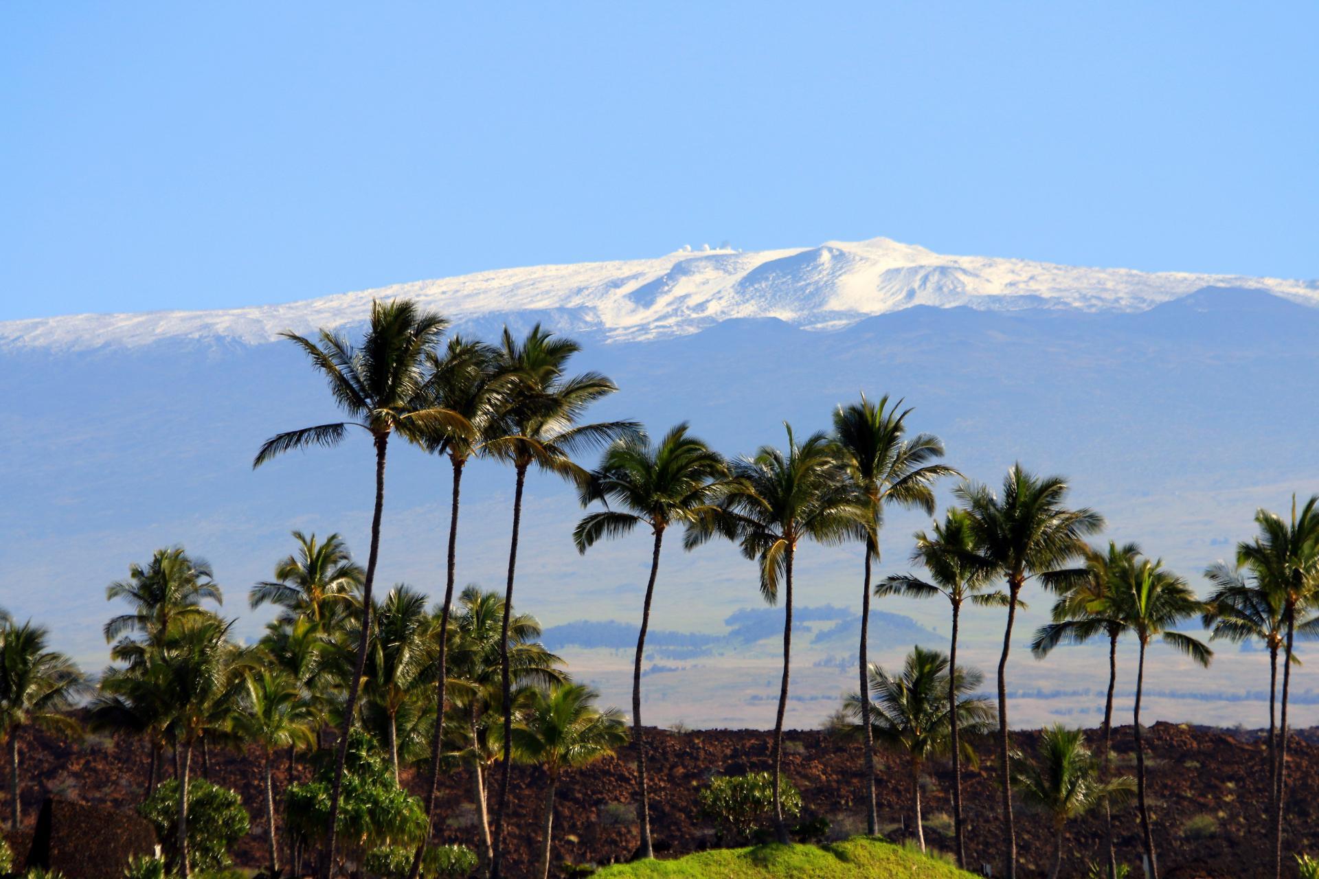 Snow topped Maunakea from the Kohala Coast
