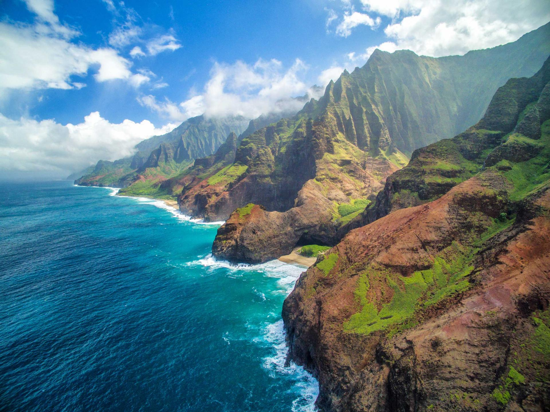 Aerial shot of Kauai coast