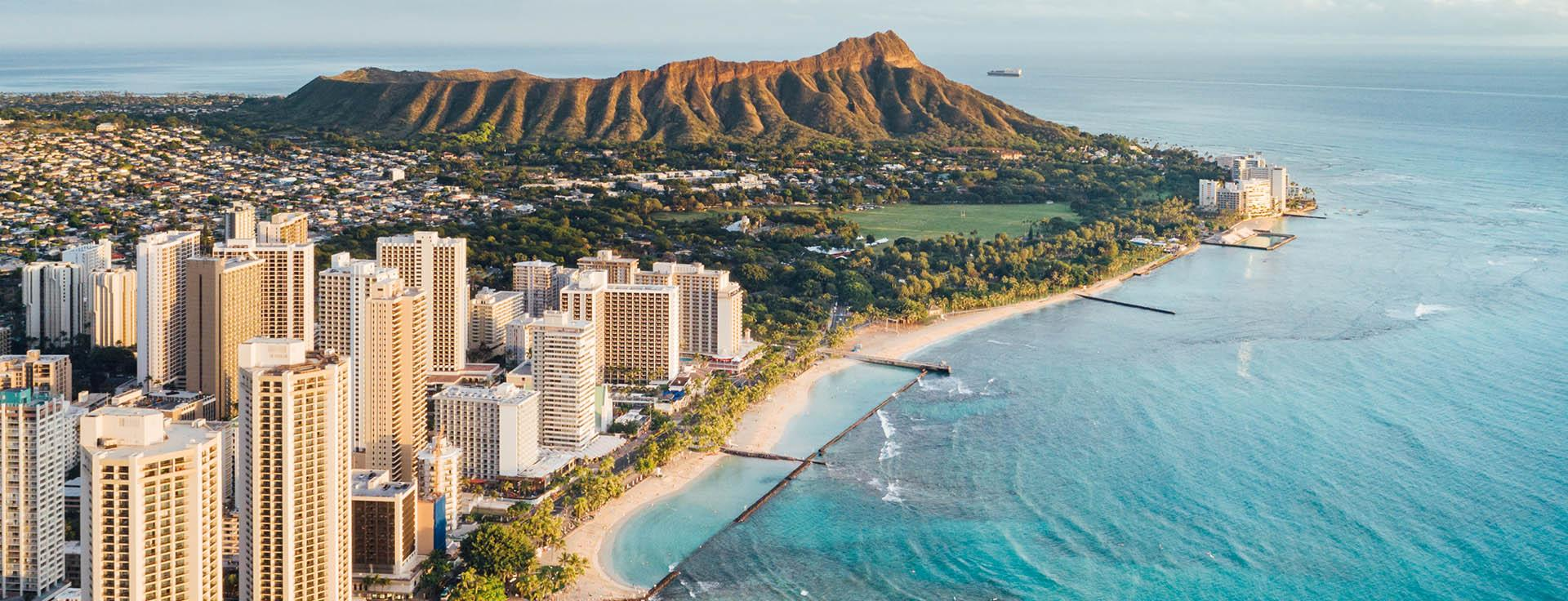 Aerial of Waikiki on Oahu
