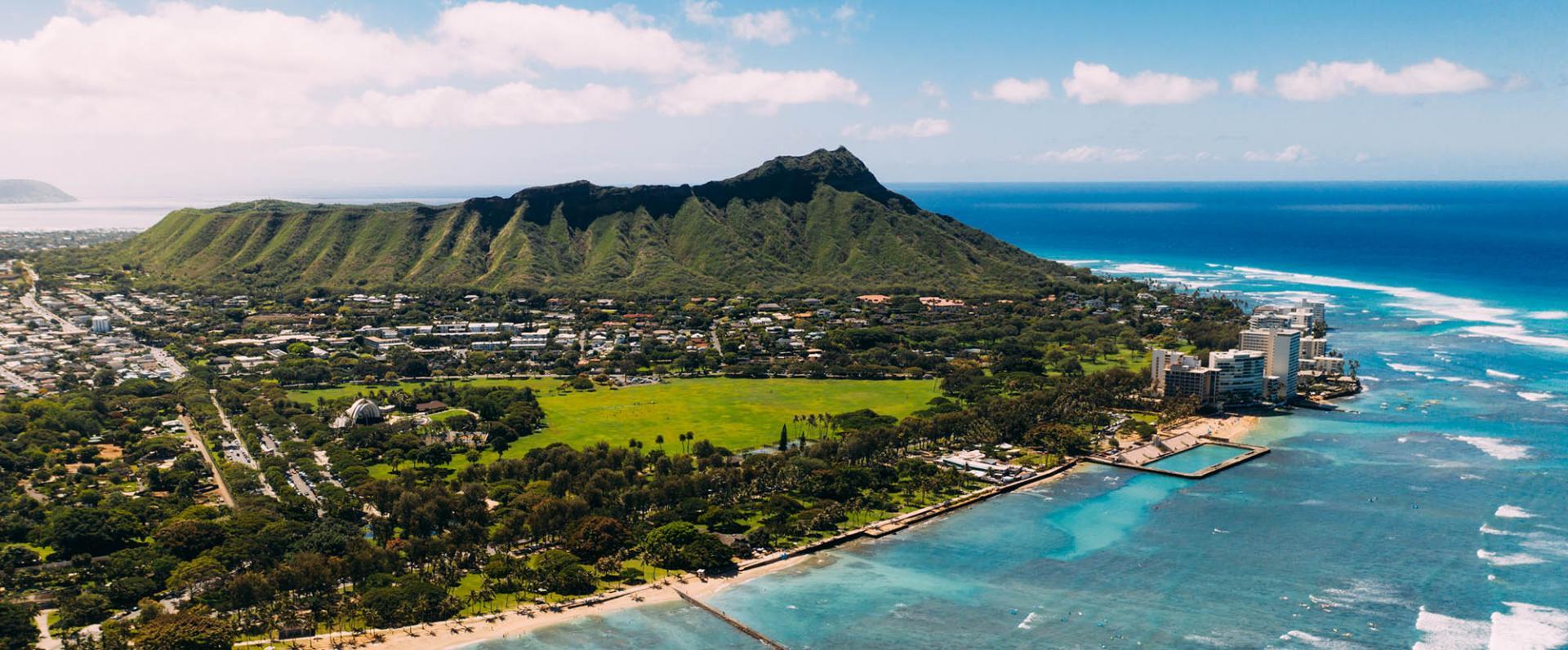 Scenic view of Diamond Head Oahu island