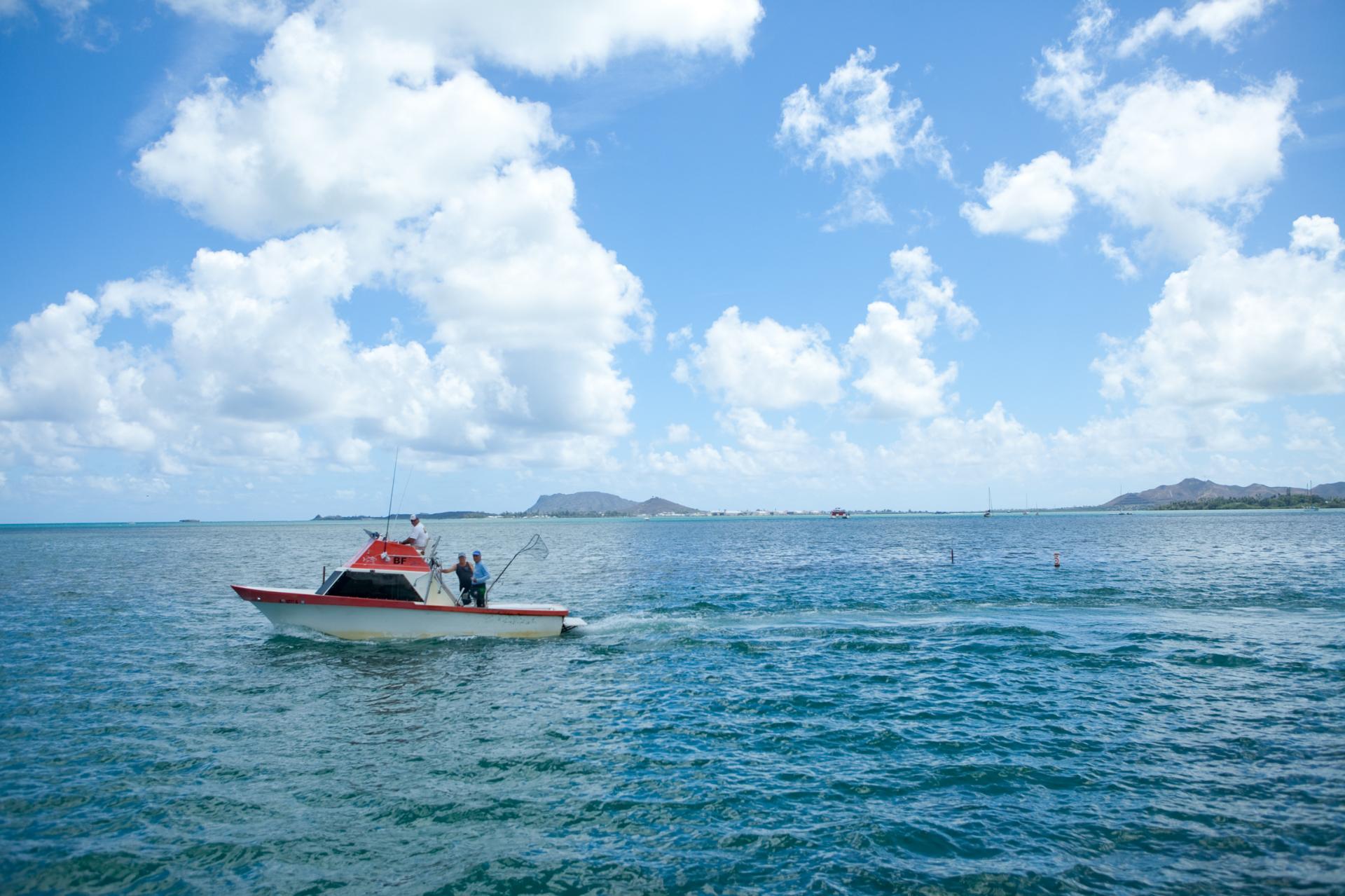 A fishing boat off the coast of Oahu