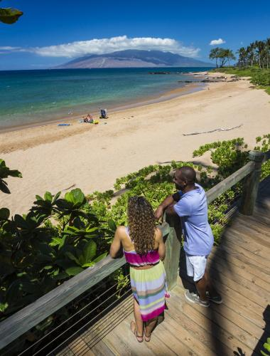 Walking along the beach on Maui
