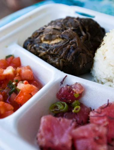Plate lunches are a local dining favorite in Kauai