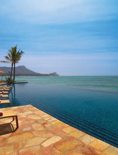 Tranquil ocean outside a beachfront resort