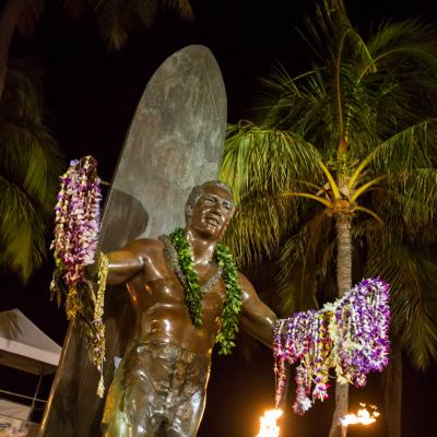 Statue of Duke Kahanamoku, father of modern surfing, on Kuhio Beach, Waikiki
