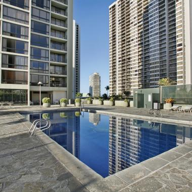 Relaxing outdoor pool and sundeck