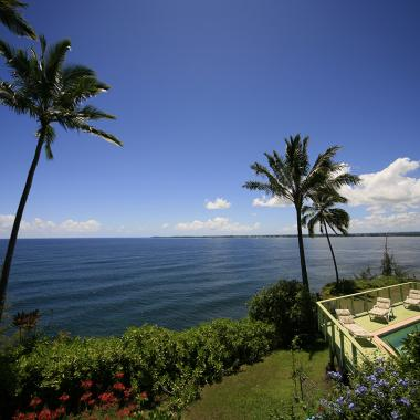 View of the Pacific Ocean and Hilo Bay from the Hale Kai Hawaii B&B