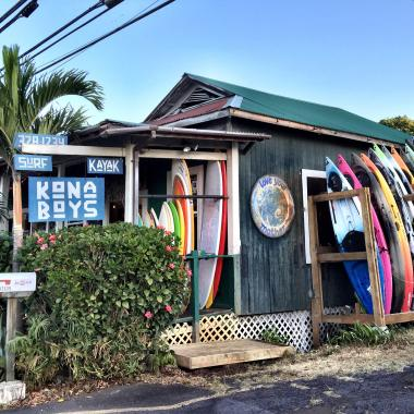 """The Kona Boys shop - Know as the """"old yamagata pool hall"""" our building is over 100 years old and has the perfect character to accommodate a surf shop."""