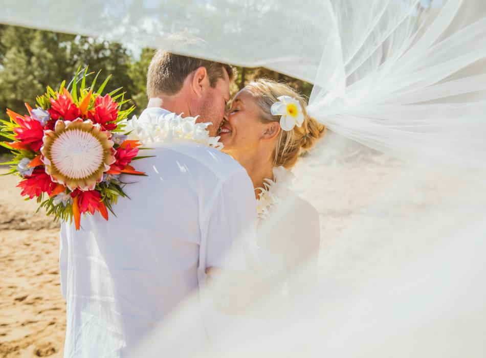 Maui Wedding with Protea Bouquet