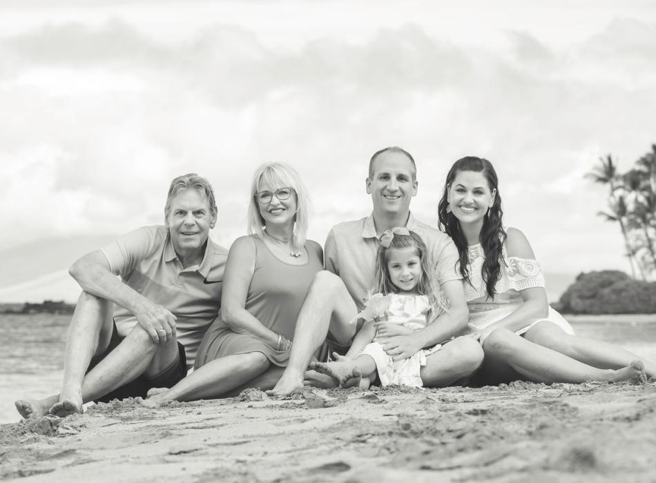 Family Black and White Photo Session on Maui