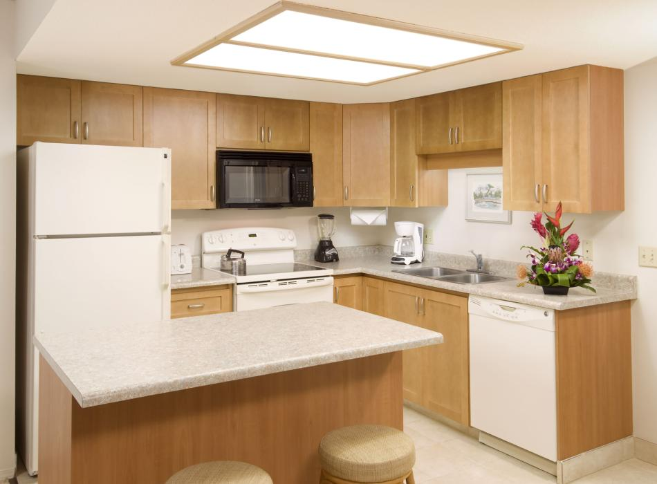 Suites have full kitchen amenities