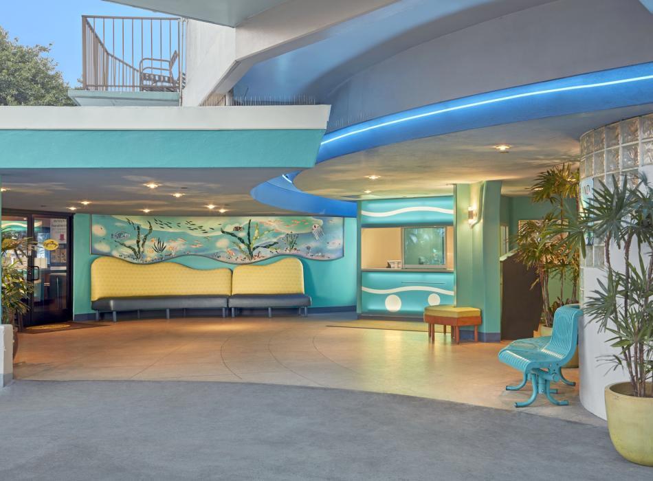 Bright decor and beachy themed