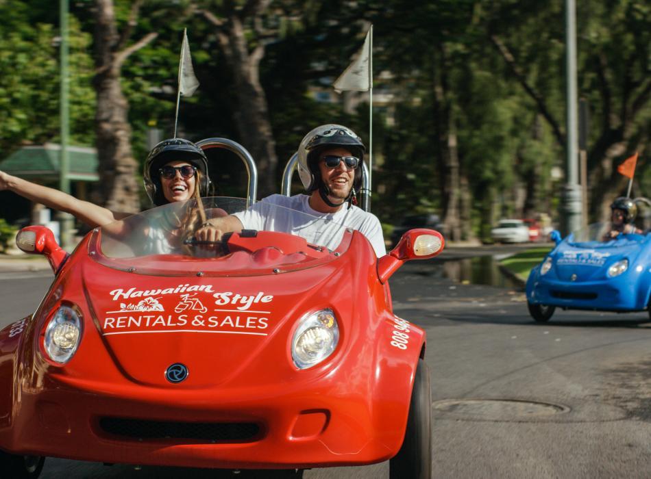 Hawaiian Style Scoot Coupe Rentals at Kapiolani Park