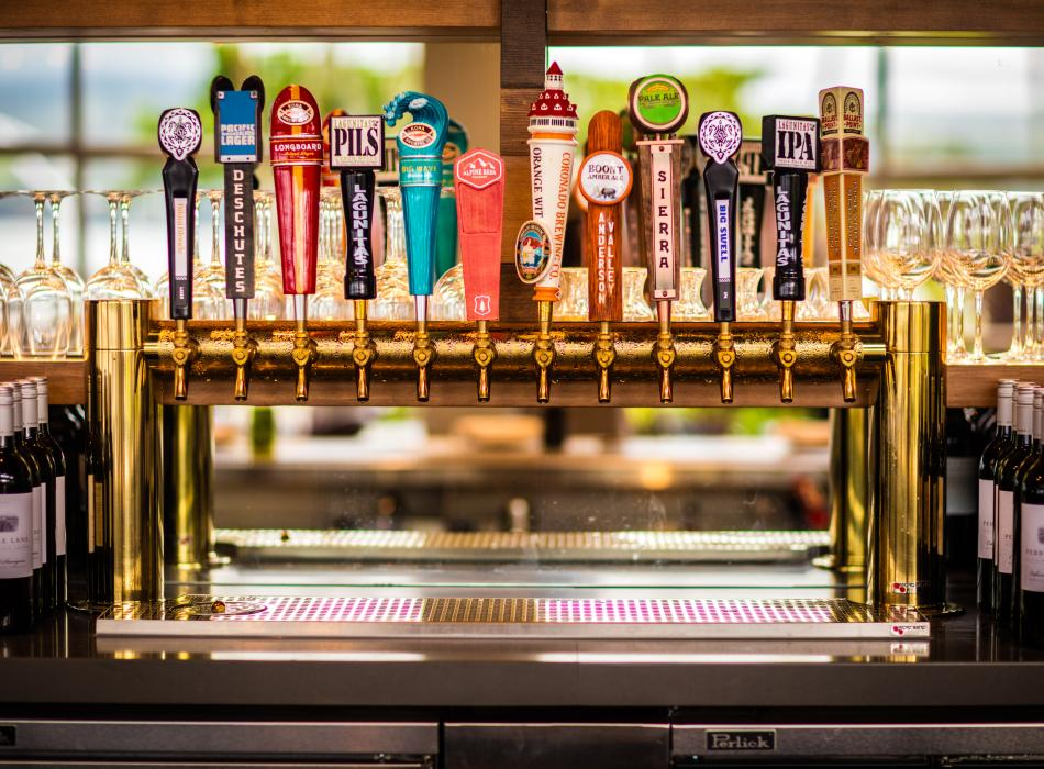 12 tap handles of local and global craft beer