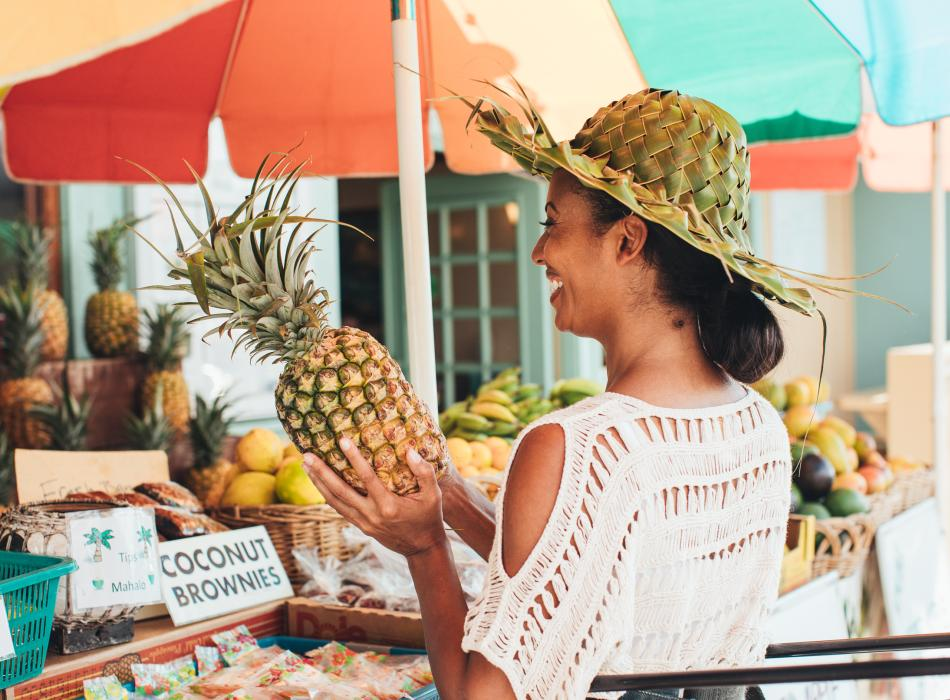 Sample fresh tropical fruit and other Hawaiian foods throughout the day