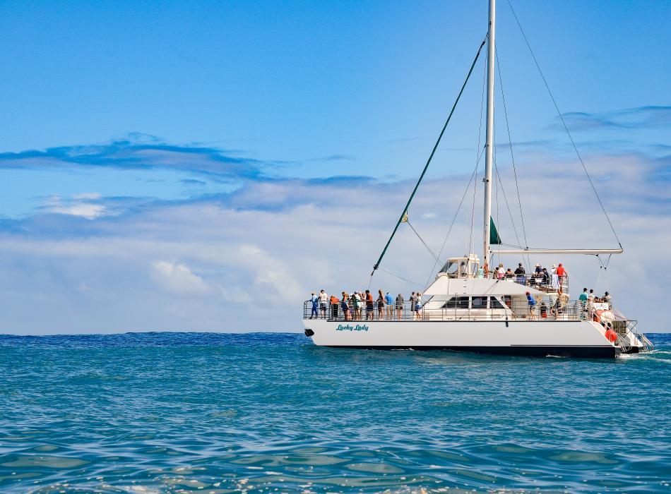 Lucky Lady Catamaran - Kauai Sea Tours Snorkel and Sunset Sails Daily to NaPali Coast Kauai.