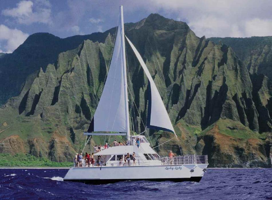 Sail NaPali - Lucky Lady Catamaran cruises to NaPali Coast Kauai