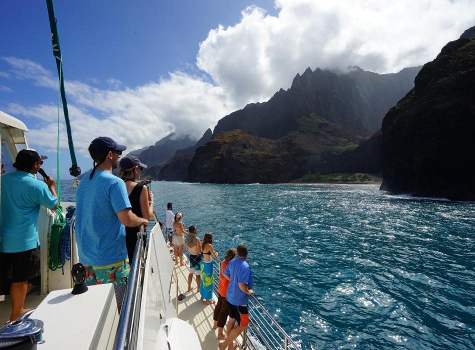 Lucky Lady Catamaran Cruises on Na Pali coast Kauai