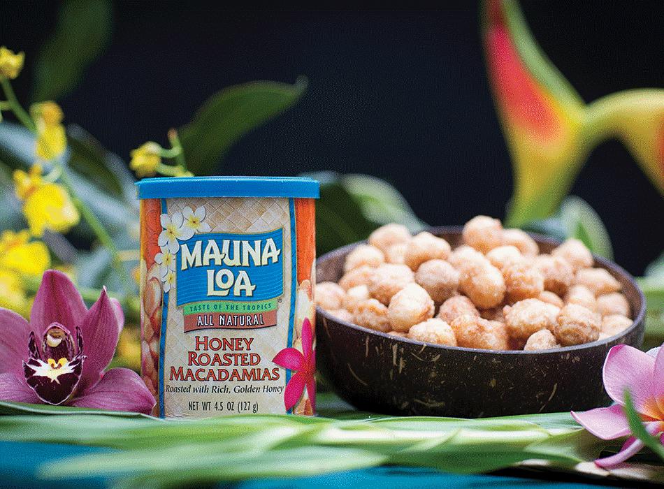 Honey Roasted Macadamias made at Mauna Loa's factory in Kea'au