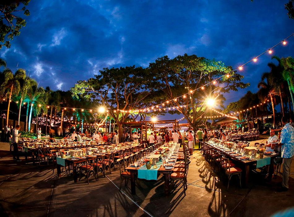 Colorful Outdoor Event with Custom Lighting