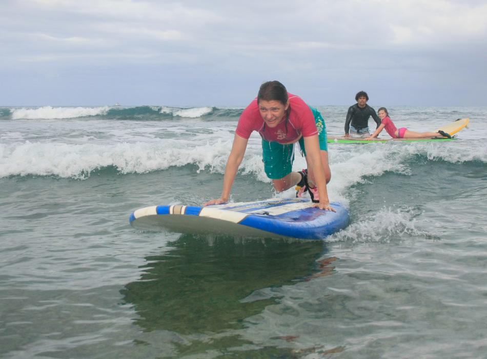 Surfing in action