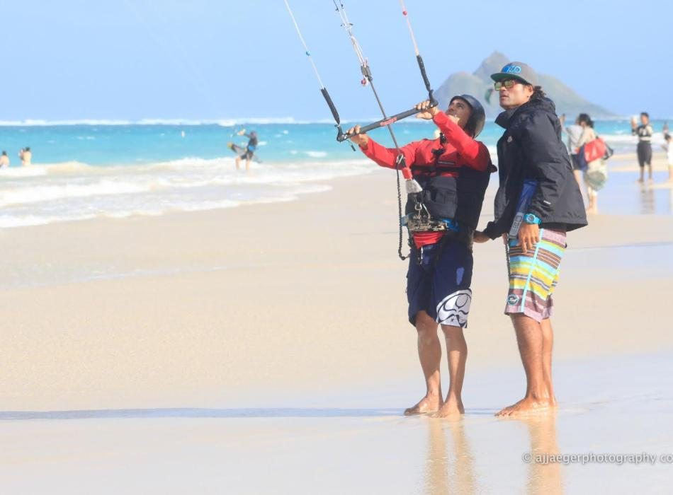 Student on land learning to kiteboard