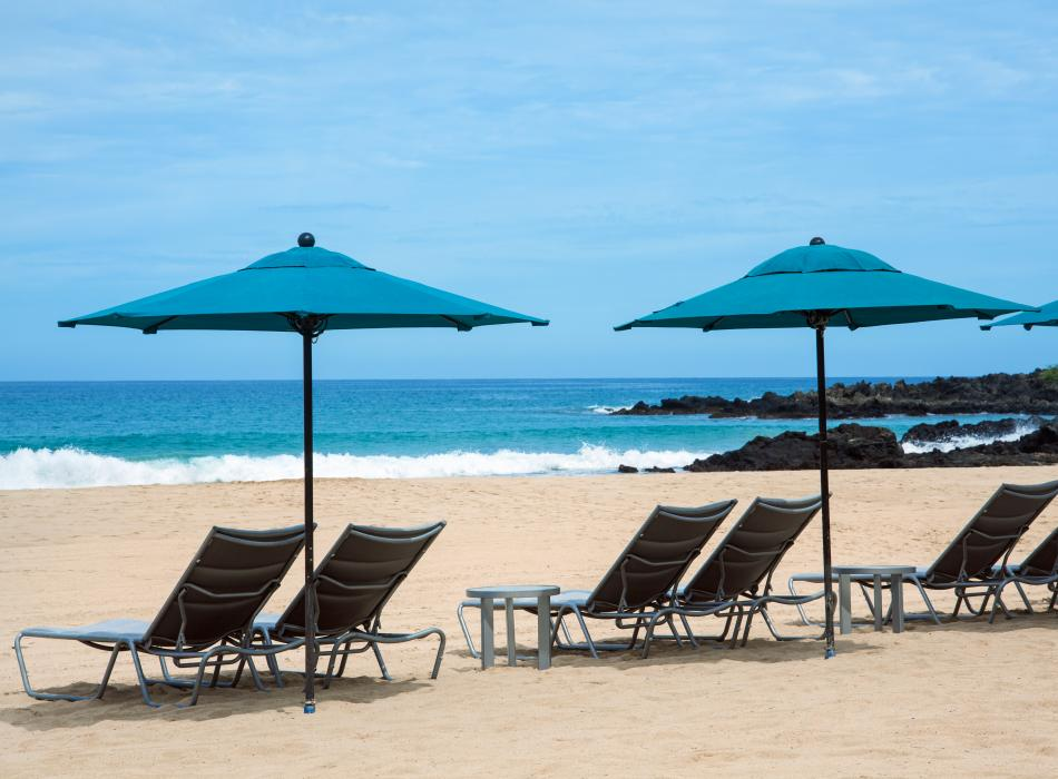 The Westin Hapuna Beach Resort beach chairs and umbrella