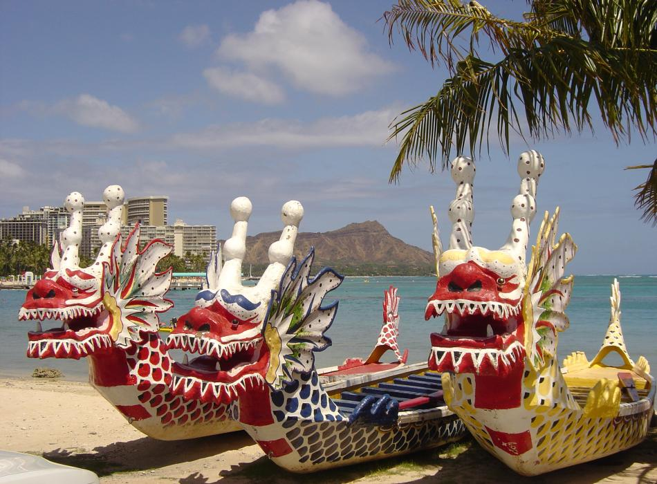 Dragon Boats - Dragon Boats on Waikiki Beach with Diamond Head in the background