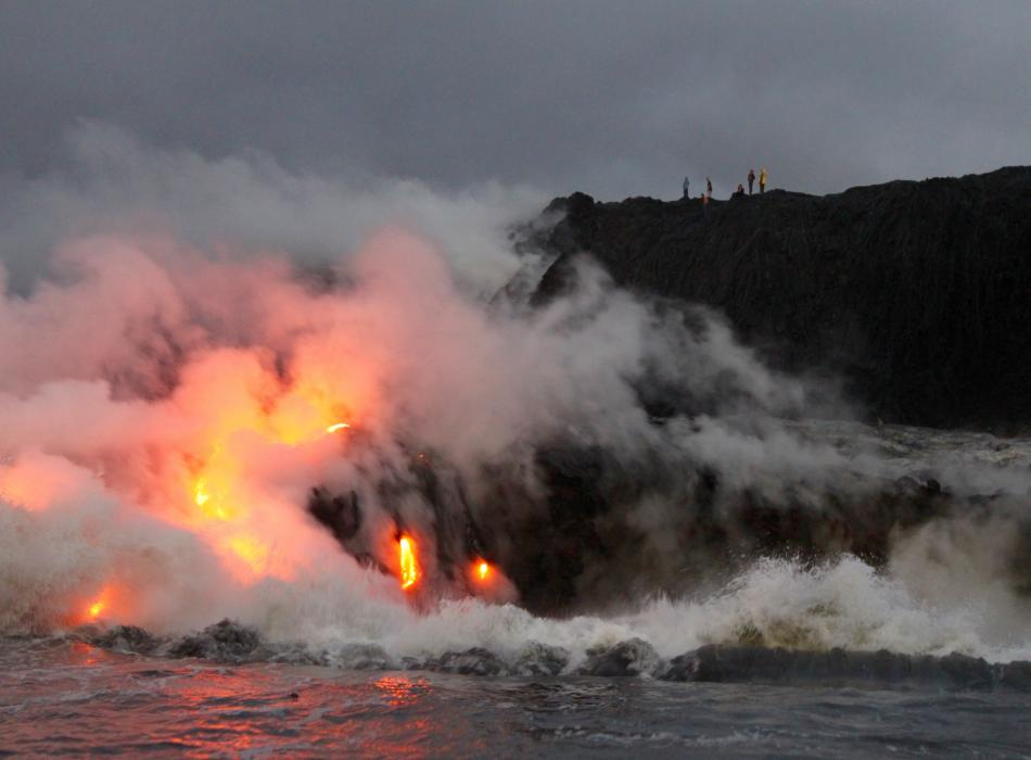 Lava flowing into the ocean on the Island of Hawaii