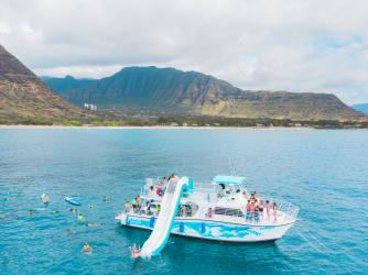 Slide down a waterslide, kayak, stand-up paddle board or snorkel in the Hawaii ocean.